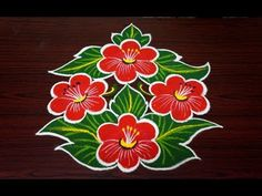 Beautiful flower rangoli design || simple rangoli designs with 7x4 dots || beginners kolam designs - YouTube