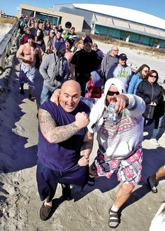 Members of the Fraternal Order of Police of Salem County show their enthusiasm for taking the plunge.  #polarbearplunge #wildwood