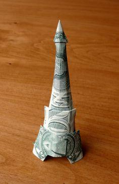 Eiffel Tower Money Origami - Dollar Bill Art