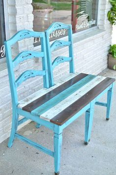 , Repurposed old chair ideas can vary quite a bit; in fact, they can be made into anything from a bench that you put on your porch to a bird bath or a p. , 15 Exciting Repurposed Old Chair Ideas You Can Make in a Day Refurbished Furniture, Repurposed Furniture, Pallet Furniture, Furniture Projects, Furniture Making, Furniture Makeover, Garden Furniture, Home Projects, Painted Furniture