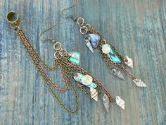 abalone and seashell chained ear cuff SET