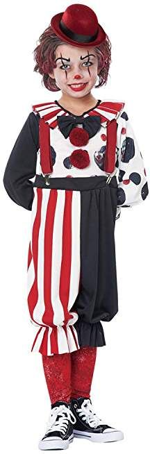 Multi-Colored Jumper With Attached Black Bow, Red Suspenders, And Red Bowler Hat With Black Accents. Shoes And Socks Not Included. Scary Toddler Costumes, Halloween Costumes, Clown Costumes, Evil Clown Costume, Creepy Clown, Red Suspenders, Morris Costumes, California Costumes, Evil Clowns