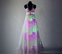 """With smart textiles we can """"download new colours or patterns"""" to our clothes  Aurora dress by CuteCircuit"""