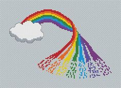 Rainbow cross stitch pattern printable por ClimbingGoatDesigns