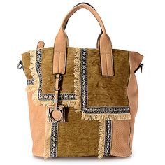 "734-076 - Madi Studio by Madi Claire ""Chloe"" Patchwork Top Handle Tote Bag w/ Removable Strap"