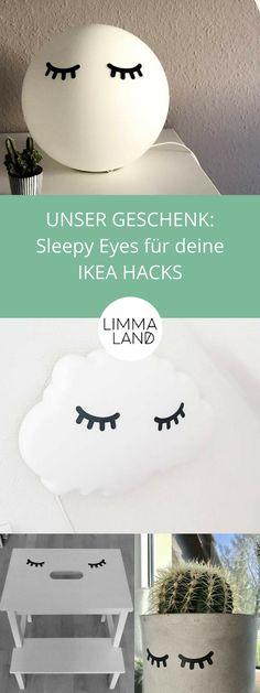 Kennt ihr sleepy eyes? Bei uns bekommt jeder Kunde pro Bestellung ein paar verschlafene Augen für seine IKEA Hacks geschenkt. Hier nur ein paar Beispiele wie dein IKEA Zubehör mit Schlafaugen aussehen. Ob IKEA Fade Hack, IKEA Bekväm Hack oder IKEA Drömsyn Hack oder IKEA Papaja Hack. Alle Produkte von IKEA sehen mit den sleepy eyes einfach nur niedlich aus! Hol dir jetzt dein Geschenk auf www.limmaland.com DIY, selber machen und basteln wird im Limmaland groß geschrieben!