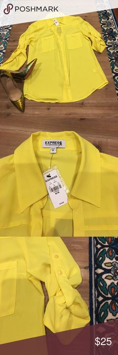 NWT Express Portofino Shirt Super soft chiffon feel, classic button down, super bright yellow Express Tops Button Down Shirts