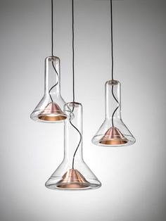"""""""I like creating in a sculptural way. For me 'pure design' can be boring, but what I try is to project my nature and my emotions into my work"""" - LUCIE KOLDOVA - (""""Whistle Light"""" designed by Lucie Koldova for Brokis) Large Pendant Lighting, Mini Pendant Lights, Glass Pendant Light, Pendant Lamp, Glass Ceiling Lights, Ceiling Lamp, Light Fittings, Light Fixtures, Interior Lighting"""