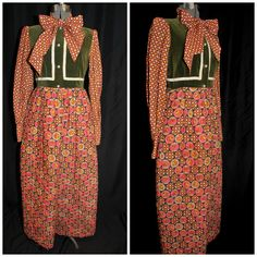 Vintage 1960's Hostess Dress / MOD Quilted Maxi by CicelysCloset