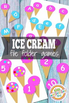 Summer or Food theme: Ice Cream File Folder Games - learn to match colours, letters, numbers, counting File Folder Games, File Folder Activities, Printable Activities For Kids, Alphabet Activities, Preschool Activities, Learning Activities, File Folders, Preschool Printables, Fun Educational Games