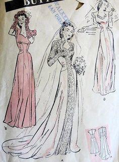 1940s ROMANTIC WEDDING GOWN BRIDAL DRESS PATTERN LONG TORSO STYLE, SWEETHEART NECKLINE, ABSOLUTELY BEAUTIFUL BUTTERICK 3174
