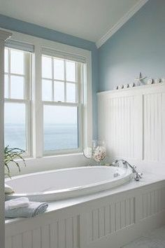 Elements Of A Cape Cod Bathroom Design For A Luxurious Small Bathroom – Home living color wall treatment kitchen design Nautical Bathrooms, Beach Bathrooms, Seaside Bathroom, Fitted Bathrooms, Beach House Bathroom, Bathroom Colors, Bathroom Wall, Bead Board Bathroom, Remodel Bathroom