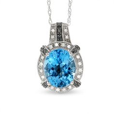 Vintage Oval Blue Topaz Pendant in 14K White Gold with Enhanced Black and White Diamond Accents - Zales
