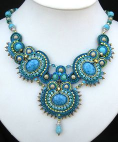 Hand Made Blue Soutache Necklace By Miriam Shimon pinned from Sigita Bead Jewellery, Boho Jewelry, Jewelry Crafts, Beaded Jewelry, Jewelry Design, Handmade Jewelry, Handmade Necklaces, Soutache Necklace, Tassel Earrings