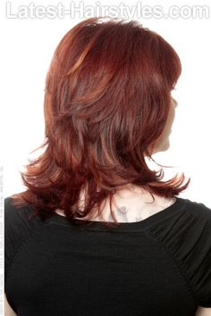 Medium Layered Hairstyle with Bangs and Layers Back View