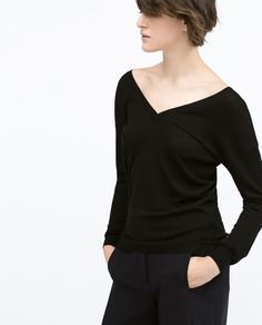 Image 2 of FRONT AND BACK V-NECK SWEATER from Zara