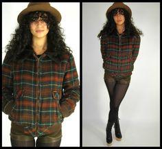 Vintage 70s WRANGLER Flannel PLAID Faux Fur LUMBERJACK Bomber Jacket Coat BOHO Brown