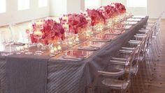 Deco table gris et rose mariage