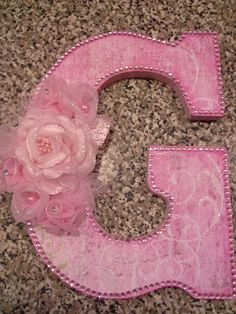 Altered letter G Cardboard Letters, Diy Letters, Wood Letters, Wooden Letter Crafts, Large Wooden Letters, Decorative Lettering, Decorated Letters, Flower Alphabet, Fairy Birthday Party
