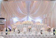 56 Ideas Wedding Arch Drapery Head Tables For 2019 Head Table Wedding, Wedding Reception Backdrop, Wedding Stage, Wedding Table Settings, Backdrop Decorations, Backdrops, Wedding Decorations, Wedding Centerpieces, Bride Groom Table