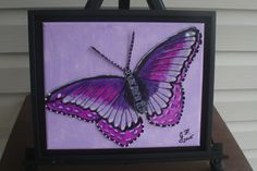 """Purple Butterfly LEATHER COLLAGE on 10x8"""" Canvas, FRAMED, Art, Leather, Painting, Collage, Wall Art, Home Decor, Unique Gift by LindasLeatherStore on Etsy"""