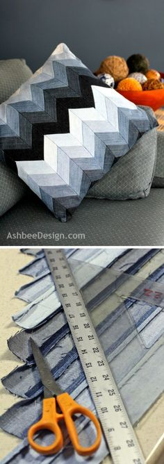 Check out how to make a decorative DIY chevron pillow from old jeans DIY Home De. : Check out how to make a decorative DIY chevron pillow from old jeans DIY Home Decor Ideas @ ISD mehr zum Selbermachen auf Interessante-ding… Jean Crafts, Denim Crafts, Blog Couture, Diy Couture, Diy Pillows, Decorative Pillows, Sewing Pillows, Bedroom Cushions, Handmade Pillows