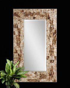 """Durante  Item #08034 B  Designer: NA   Dimensions: 30 W X 50H X 2 D (in)    Weight (lbs): 52 Frame is created using reversed, painted glass finished in a marbleized maple brown. Mirror has a generous 1 1/4"""" bevel. May be hung horizontal or vertical."""