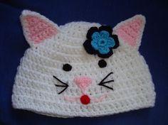 Kitty Cat Crochet Hat Pattern van woollythinking op Etsy