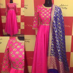 Our  favorite  color  combination :  pink  navyblue long  anarkali with  zari  brocade  dupatta ...Get your colors custom designed peeps! ashwinireddy  arbride  28 November 2016