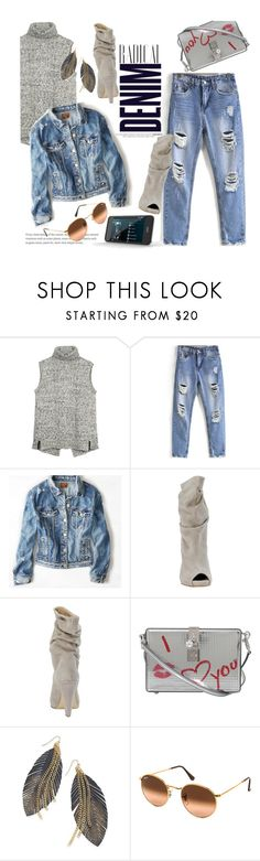 """Radical Ripped Denim"" by clotheshawg ❤ liked on Polyvore featuring Fat Face, Alima, American Eagle Outfitters, Dolce&Gabbana, Thalia Sodi and Ray-Ban"