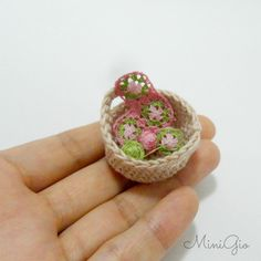 Dollhouse crochet work in progress in scale 1:12 basket by MiniGio