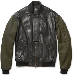 Amazing Bomber -> McQ Alexander McQueen Contrast-Sleeve Padded Leather Bomber Jacket | MR PORTER