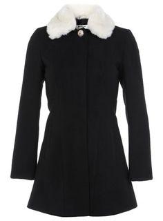 Petite Black Fur Collar Coat
