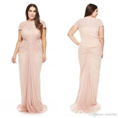 Blush Plus Size Prom Dresses Pleats Lace Applique Short Sleeve Jewel Neck Sheath Evening Gowns 2016 Chiffon Formal Special Occasion Dress Online with $110.81/Piece on Sweet-life's Store | DHgate.com
