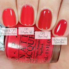 19 Trendy ideas for opi gel pedicure swatch Opi Red Nail Polish, Opi Gel Nails, Essie Nail Colors, Nail Polish Hacks, Natural Nail Polish, Gel Polish Colors, Cute Pink Nails, Pretty Nails, Garra