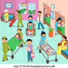 MyKidsArena manufactures and supplies high quality and detailed material for picture talk for various play school concepts like at the hospital, at the station etc. Preschool Learning Activities, English Activities, Preschool Education, Worksheets For Kids, Hindi Worksheets, Vocabulary Worksheets, Picture Story For Kids, Book Hospital, Picture Comprehension
