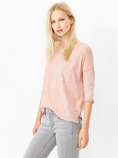 Three-quarter sleeve faded tee Product Image $18:26 (willow pink, pavement)