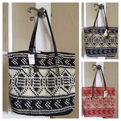 Lucky Brand Tango Tote Straw Crochet LB2441 Black, Blue, Red Retail $98 #LuckyBrand #TotesShoppers