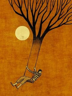 Swinging from a tree by Toni Demuro.  Everything I like in one picture The moon, a tree and a swings