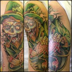 Zombie Leprechaun - these seem to becoming popular lately, I like this take, cool details. - - #talesofthetatt #tattoo  #Irish #StPatricksDay- www.talesofthetatt.com Irish Tattoos, Leprechaun, St Patricks Day, Tattoo Ideas, Popular, Cool Stuff, Detail, Create, Most Popular