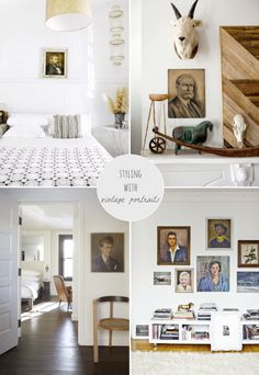 Styling With Vintage Portraits by Avenue Lifestyle // Image credits: {clockwise from top left} Kara Rosenlund for The Design Files, Jennifer Causey for Design Sponge, Rue Magazine, The Dean Hotel