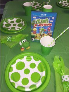 Yoshi Wooly World Super Mario Party, Super Mario Bros, Super Mario Birthday, Mario Birthday Party, 6th Birthday Parties, Mario Bros Kuchen, Mario Bros Cake, Nintendo Party, Yoshi