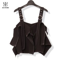 Aliexpress.com : Buy Black Asymmetrical Top Sexy Ribbons Short Sling Top Tank Women  Splicing Double Track Vintage Bandage Top Strap Top Femme from Reliable strap pad suppliers on JYJ STUDIO Asymmetrical Tops, Jyj, Ribbons, Track, Clothes For Women, Studio, Tank Tops, Sexy, Stuff To Buy
