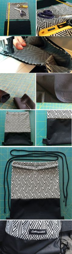 cords /& full instructions. EASY-MAKE Drawstring bag kit Striped cotton fabric