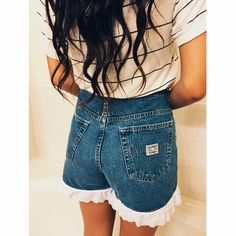 High Waisted Lace Trim Denim Shorts Old Navy Brand Denim shorts with lace trim. (Styled similar to shorts from Urban Outfitters). Held against model to show fit. Great condition, never worn! Tag says size 10, these shorts would fit size 30-32 Urban Outfitters Shorts Jean Shorts