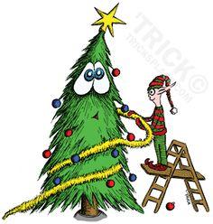 Happy X-mas Tree And Elf. Artwork by 'Trick. TricksPlace.com