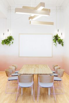 ombre walls with pale timber. Love the hanging plants and lights used together Great central lighting