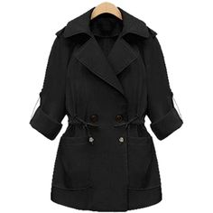 Yoins Plus Size Black Tie-Waist Trench Coat ($49) ❤ liked on Polyvore featuring outerwear, coats, jackets, black, oversized trench coat, plus size women's trench coat, trench coat, womens plus coats and plus size trench coat