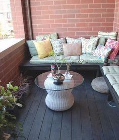 10 ways to make condo homey - dad could make this bench outdoors and I make or buy cushions and have storage under