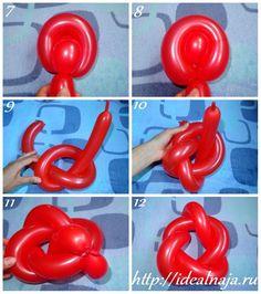 Как сделать розу из длинных шариков ч.2